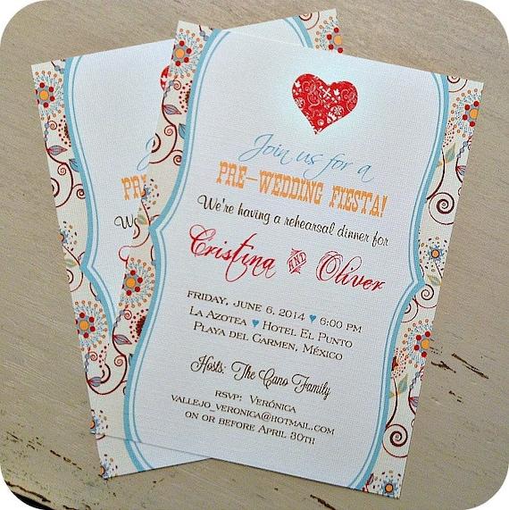Pre Wedding Dinner Invitation: Items Similar To Pre Wedding Fiesta Rehearsal Dinner