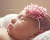 Vintage Pink Shabby Flower Rosette Skinny Headband - Newborn Photo Prop - Baby Shower Gift - Baby Little Girl Hair Bow