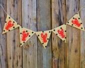 Crawfish polka dot burlap banner-Custom Length