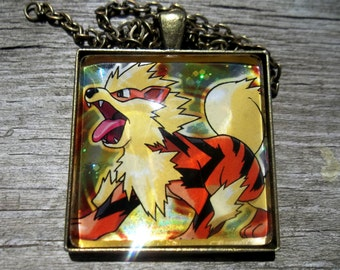 1.5 inch Diameter Arcanine  - Japanese HOLO - Rare Pendant Charm made from Trading Cards