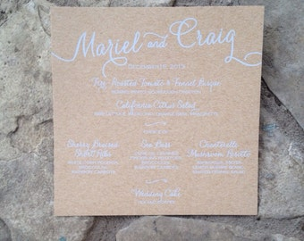 Custom Kraft Wedding Menu, Square