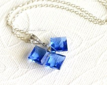 Gemstone Necklace, Blue Quartz Square Cut Beads, Sterling Silver Wire Wrapped, Sterling Silver Chain, Silver Bail with Cubic Zirconia. N030.