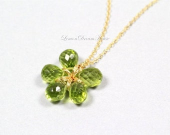August Birthstone. Gemstone Flower Necklace, Peridot Faceted Tear Drop Briolettes, Gold-filled Wire and Flat Cable Chain. Dainty. Gift. N178