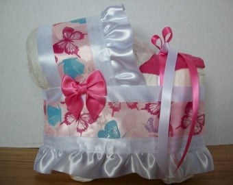 pink butterfly girl diaper bassinet baby shower gift table decoration centerpiece