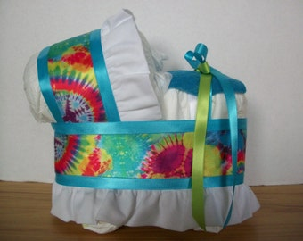 turquoise blue tye dye boy or girl diaper bassinet baby shower gift table decoration centerpiece