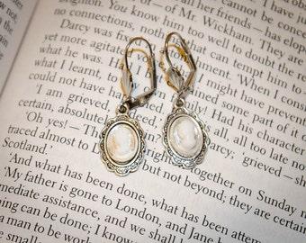 Clear Jane Austen Style Silver Cameo Earrings