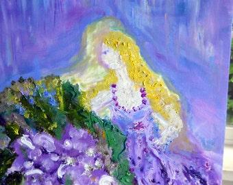 Purple Heaven Oil, Original Oil Painting, Art for Women, Healing Art, Spirit Guide Art, Kathleen Leasure, FromGlenToGlen