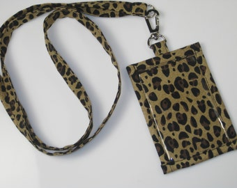 Lanyard ID Holder, Leopard Print Cotton Clip On  ID Holder with Hidden Cash Stash with Matching  Lanyard