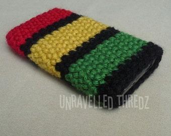 Phone Sock Pouch Cozy- Rasta Stripes Crochet Cell Phone Case