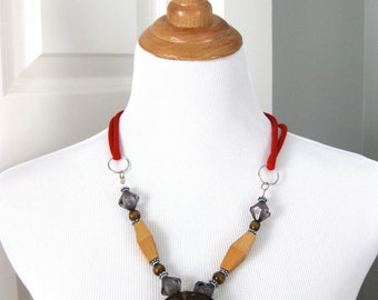Boho - Chic Jewelry Wood Necklace Beads Statement Brown Red Tan Gray Fashion Belt Fall For Her Gift