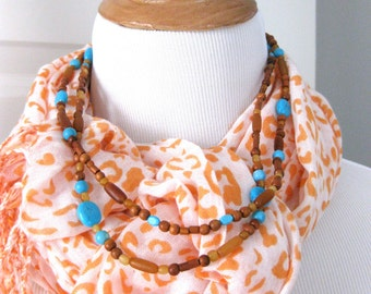 Vintage Turquoise Necklace Amber and Wood Beads Multi Strand Wired Festival jewelry