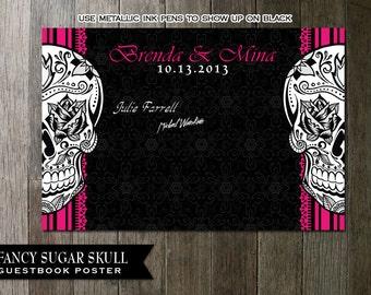 Sugar Skull Guestbook Alternative - Digital Poster 3ft by 2 ft for signing and then framing Digital File | Sugar Skull Printable Poster DIY