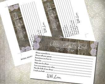 Bridal Shower Game - Advice to the Bride to be - Rustic Trees - INSTANT DOWNLOAD - Lilac Color Only | Printable Game