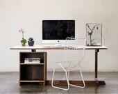 The Tilted Desk in Solid Black Walnut with Ebony Butterfly Keys