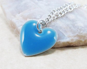 Pendant Charm Necklace - Sky Blue Epoxy Enamel Heart - Sterling Silver Plated over Brass Cable or Ball Chain (J1-8)