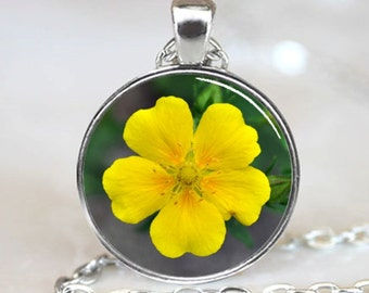 Yellow potentilla flower Handcrafted  Necklace  Pendant with Ball Chain Included(PD0261)
