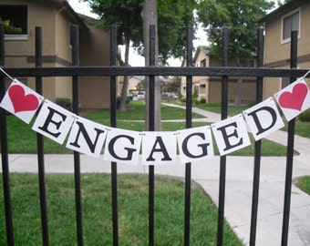 Engaged Banner - Heart can be customized with your color