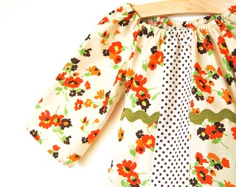 Girls 3/4 Sleeve Tunic Dress / Orange, Brown and Green Fall Floral with Olive Ric Rac Sash / Ready to ship in 18-24 months