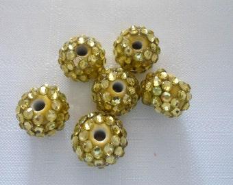 257- Perle de porcelaine avec résine strass, or,  12mmx14mm   (6 pcs)