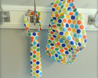Baby Boy Tie and Diaper cover SET - Circus Dots 2