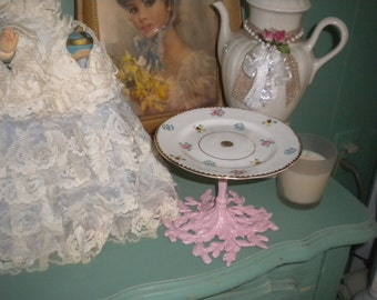 Lovely Up Cyced Candy cupcake or soap Plate, Shabby chic, Baby's Girl's Room, Baby Nursery, Cottage Decor, Bath Decor