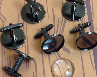 sale-  40 pcs combo  Round  Gun Metal Black  platted - 18mm  Bezel cufflink Blank with Glass tile inserts -  Cadmium free