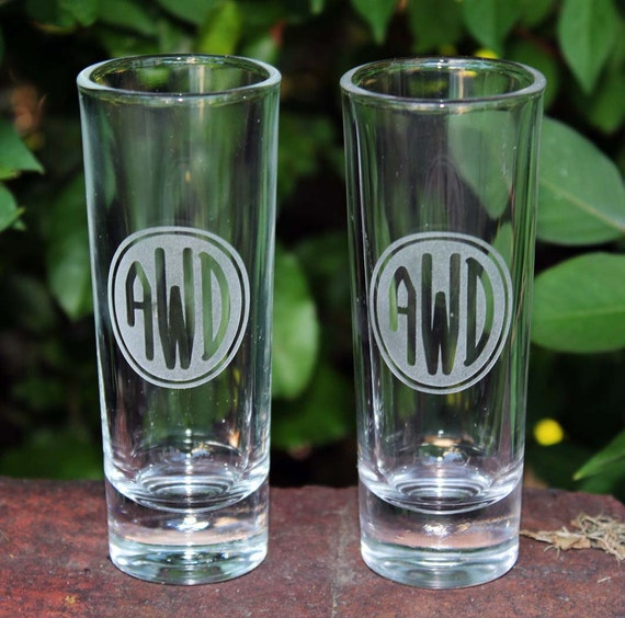 Personalized monogrammed etched shot glasses great groomsman best