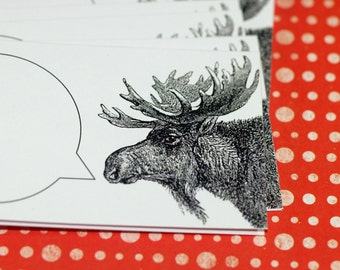 MOUTHY MOOSE ... Mini Notecards . Handmade Envelopes . Captioned Critters . Stationery . Paper Goods . Gift Cards . Folded Notes . Antlers