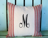 16x16 red tan striped initial monogram embroidered pillow- Holiday gift- decorative cover-gifts under 35-throw pillow-accent pillow