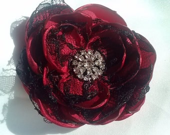 Burlesque crimson satin and black lace hair flower, crimson and black hair flower, burlesquewedding accessory/photography prop