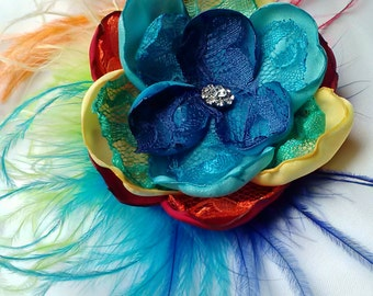 Rainbow fun flower, rainbow flower and ostrich feathers, rainbow wedding accessory/photography prop, satin and lace feathered fascinator