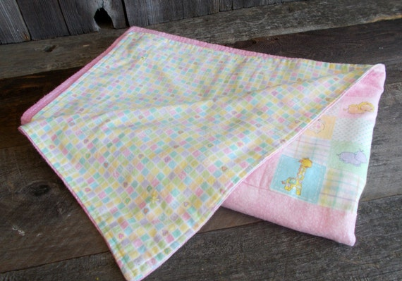 Flannel Baby Blanket, Baby Girl Quilt, Lap Blanket, Baby Animals, Throw Blanket, Nursery Crib Quilt, OFG Team