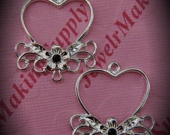 Genuine Silver Plated Swarovski Crystal Heart Chandelier Earrings In Garnet