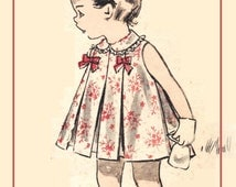 Advance 8657 Photocopy of Vintage 50s Adorable Toddler Girls Dress with Inverted Pleats and Yoked Panties Sewing Pattern Size 1 or Size 2