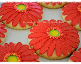 Decorated Gerber Daisy, Red, Pink, Orange, Green, Yellow Shortbread Cookie Favors