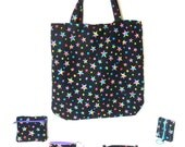 Travel Tote Set - Tote Bag Set -  Star Tote Bag Set -  Star Tote Bag - Star Key Fob - Tote Bag Gift Set - Star Shoulder Bag -Sleep Over Tote