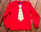 Boys Christmas tie shirt. Mod green and white tie applique. Or any Holiday chevron, polka dot, or print fabric. By EverythingSorella
