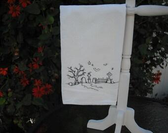 Halloween cemetery towel. Landscape. Machine embroidered.