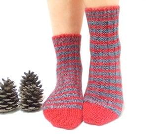 Handmade Socks, Knitted Socks, Handmade Socks, Red, Blue, Stripes, Knitting, Traditional, Long Slippers, House Shoes