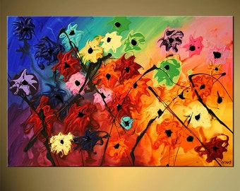 "36"" x 24"" Original Modern Palette Knife Textured Acrylic Painting Heavy Palette Knife Colorful Daisies art by Osnat - MADE-TO-ORDER"