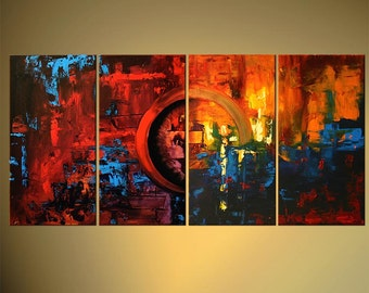 "Modern Abstract Painting, Colorful Large 60"" x 30"" Original Palette Knife acrylic Painting by Osnat - MADE-TO-ORDER"