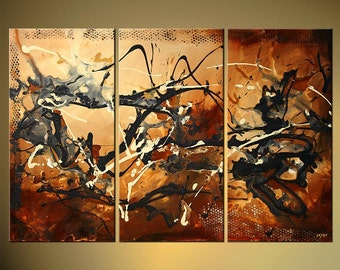 "Rusty Abstract Painting Textured Art on Canvas Acrylic abstract painting by Osnat - MADE-TO-ORDER - 54""x36"""