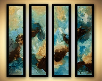 """48"""" x 48"""" Large Acrylic Teal Blue Abstract Painting Original Modern Art Ready to Hang by Osnat"""