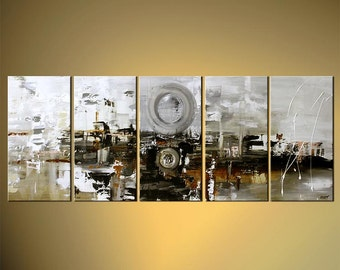 "Large White Abstract Painting Modern Acrylic Painting 60"" x 24""  by Osnat - MADE-TO-ORDER"