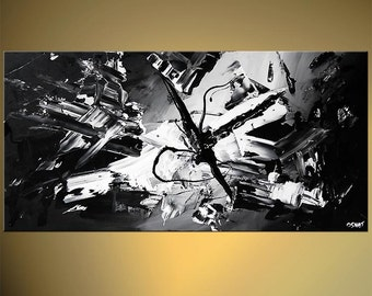 "Black White Contemporary Abstract Painting 48"" x 24"" Textured Acrylic Painting on Canvas by Osnat - MADE-TO-ORDER"