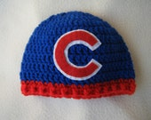 Crocheted Cubs Inspired Baby Beanie/Hat - MADE TO ORDER - Handmade by Me