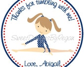 Gymnastics (Red, White and Blue Design) Party Favor Tags