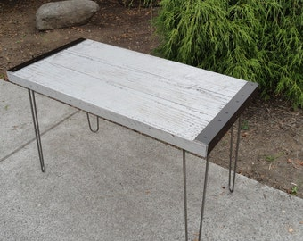 Gray Industrial Coffee Table from old barnwood with hairpin legs