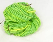 Avocado green -  Hand  spun yarn. Chunky spun merino single hand painted, Pure Australian merino wool.