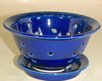 Cobalt Blue Berry Bowl/Colander